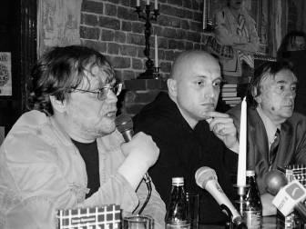 Александр ИВАНОВ с авторами «Ad Marginem»  Захаром ПРИЛЕПИНЫМ и Александром ПРОХАНОВЫМ