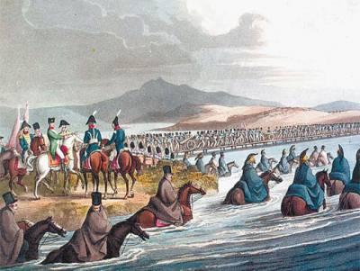 Войска Наполеона форсируют Неман. Рисунок Джона Кларка. 1816 г.