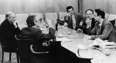 Слева направо: Игорь ШАФАРЕВИЧ, Вадим КОЖИНОВ,  Вадим НЕПОДОБА, Станислав КУНЯЕВ, Юрий КУЗНЕЦОВ